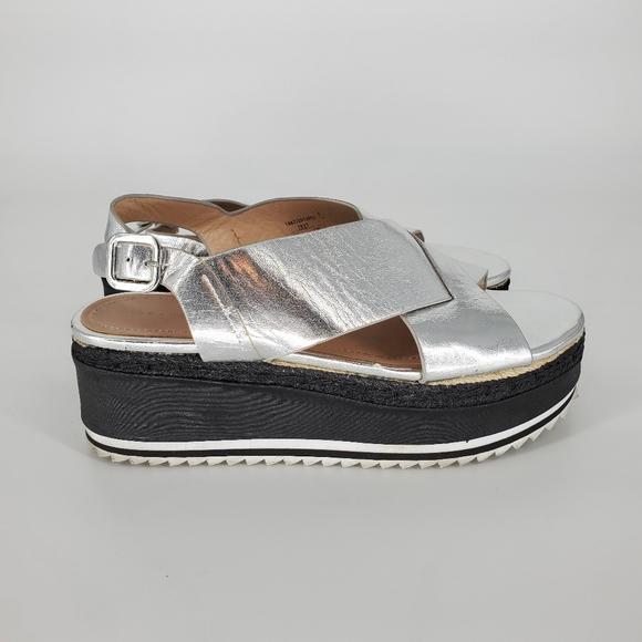 Zara women silver chunky platform sandals y2k